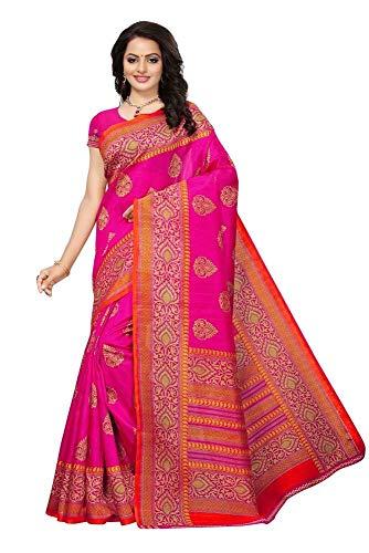 Indian Bollywood Wedding Saree indisch Ethnic Hochzeit Sari New Kleid Damen Casual Tuch Birthday Crop top mädchen Cotton Silk Women Plain Traditional Party wear Readymade Kostüm (pink)