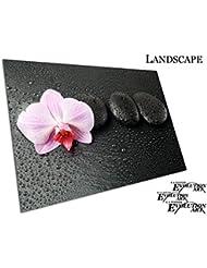 Spa Gouttes d'eau Violet orchidée avec des pierres Zen Noir, A2 - SAV