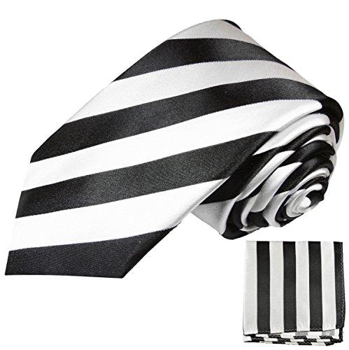 Paul Malone Seidenkrawatten Set 2tlg schmale 6cm Krawatte schwarz weiß gestreift + Einstecktuch (Normallange 150cm) (Passt Krawatte Schwarz)