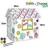 Grande maison de jeu en carton pour enfant cabane tipi a for Maison en carton a colorier