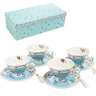 London Boutique Coffee Tea cup and Saucer set 4 Shabby Chic Vintage porcelain Bird Butterfly Flora Gift Box (Rose Blue)