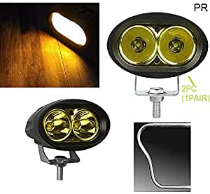 PR Bike Fog Lamp Light 20w 3200Lm Cree Led Projector LED Aux Lights 2pc YELLOW Light Motorycle Fog Light Bike Projector Auxillary Spot Beam Light For TVS Phoenix Drum