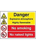 "Caledonia Signs 26233K ""Explosive Atmosphere Highly Flammable No Smoking/Naked Lights"" Sign, Self Adhesive Vinyl, 400 mm x 300 mm"