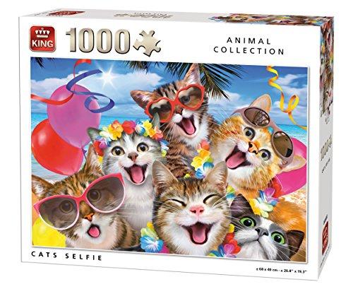 King 5702 - Puzzle de 1000 Piezas, 68 x 49 cm, diseño de Gatos Selfie
