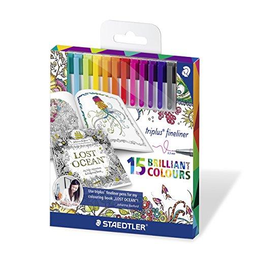 Staedtler 334 C15JB triplus Fineliner Set mit 15 sortierten Farben Exklusive Johanna Basford Edition, Ergonomische Dreikantform, Schreiben, Malen und Zeichnen