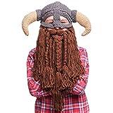 BEARDO Berretto con Barba Kids vichinga–Berretto lavorato a maglia con barba (Horn Down)