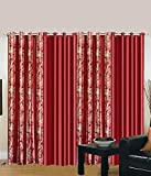 Exporthub Red Eyelet Long Door Curtains ...