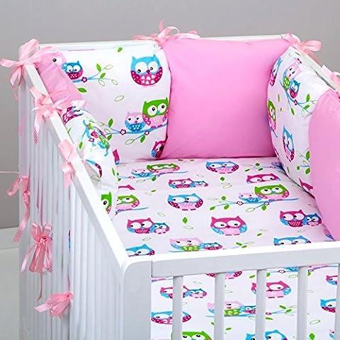 Set 10pcs ropa cama de bebé: Tour 6cojines (tamaño grande), edredón Bebé, Funda de edredón, almohada, funda de almohada. Búho blanco rosa