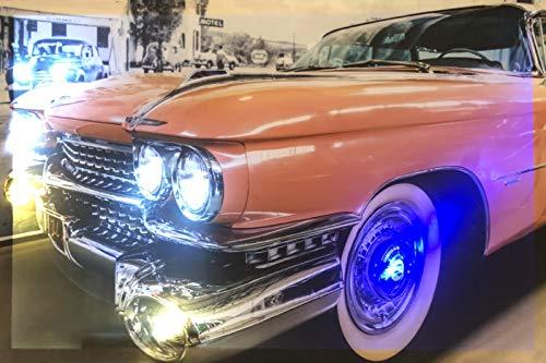 Samarkand - Lights LED-Bild mit Beleuchtung LED- Bilder Leinwandbild 65 x 45 cm Leuchtbild Old CAR/US CAR/Auto Wandbild