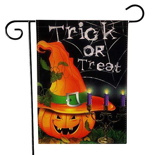 Auony Halloween Garten Flagge, Double Side Trick Treat Jack O Laterne Kürbis Flaggen Garten Yard decoration-18.5X 33cm