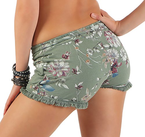 malito Damen Shorts mit Blumen Muster | kurze Hose mit Fransen | Bermuda für den Strand | Pants �?Hotpants 6083 Oliv