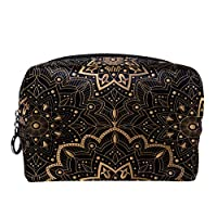 TIZORAX Hippie Mandala Bohemian Makeup Bag Toiletry Bag for Women Skincare Cosmetic Handy Pouch Zipper Handbag