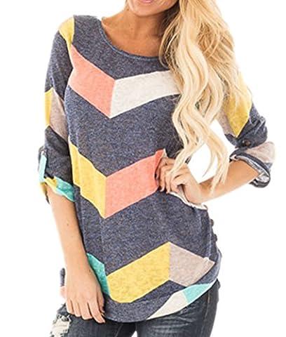 ICOCOPRO Women Colorful Chevron Knitting Top 3/4 Sleeve Zig-Zag Loose Fit Tunic Shirt