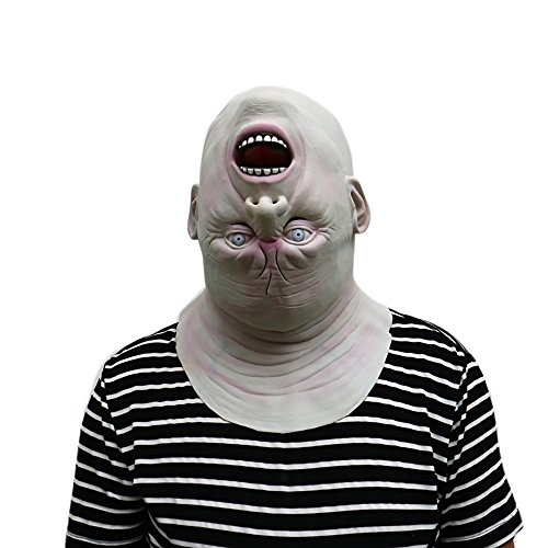Latex Halloween Maske Creepy Scary Reverse Kopfform Halloween Cosplay Kostüm Maske für Erwachsene Party Dekoration Requisiten