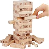 IndiPlay 51 Pcs Blocks 4 Dices Wooden Tumbling Stacking Jenga Building Tower Game