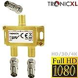 TronicXL 2-Fach BK Verteiler Premium TV Kabel Adapter Antennenverteiler Kabelfernsehen DVBC zb für Unitymedia Splitter