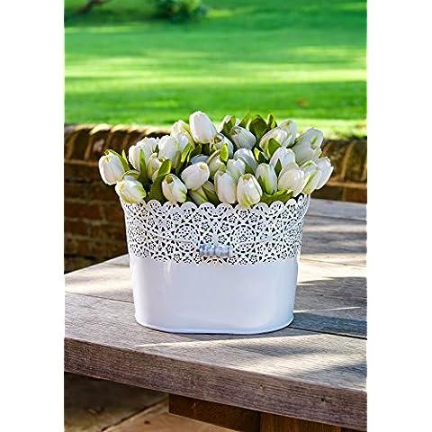 Ovale Bianco Filigrana Vaso da fiori