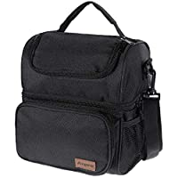 Anpro Lunch Bag - Cool Bag for Lunch, Lunch Bag for Adults with Adjustable Shoulder Strap, for Carrying Lunch Box - Lunch Kit for Camping, Fishing, Barbecues, Black(24x20x14.5cm)