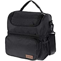 Anpro Lunch Bag - Insulated Cooler Bag for Carrying Lunch Box with Adjustable Shoulder Strap - Lunch Kit for Camping, Fishing, Barbecues, Black(24x20x14.5cm)