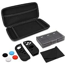 kwmobile Set de estuche y accesorios 10en1 para Nintendo Switch - estuche portátil con protector de pantalla - fundas para Joy-Con y Joystick