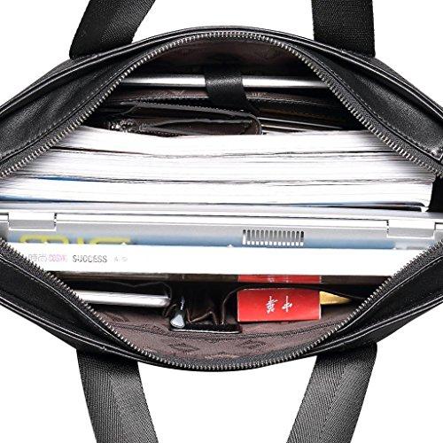 Pabojoe Herren Echtleder Business Casual Messenger Bag Tote Khaki Gray