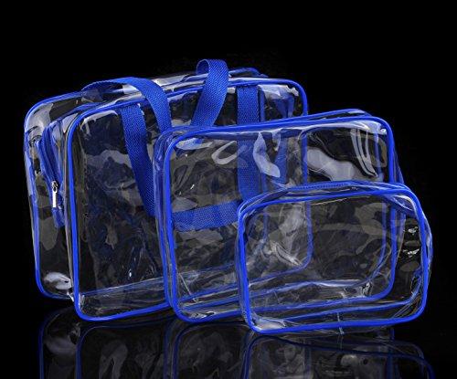 Butterme 3 Pack Clear PVC Maquillage Cosmetic Toiletry Voyage laver sac de support fixé pour les vacances Salle de bains Rangement (3 dimensions)
