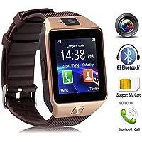 Smartwatch Android con slot per schede SIM / TF, Bluetooth Smart Watch con fotocamera, contapassi, monitor sonno, fotocamera remota, touchscreen per Android IOS