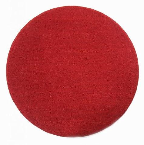 Homescapes Dekorativer Kurzflor Teppich rund rot - 70 cm (Teppich Rot)