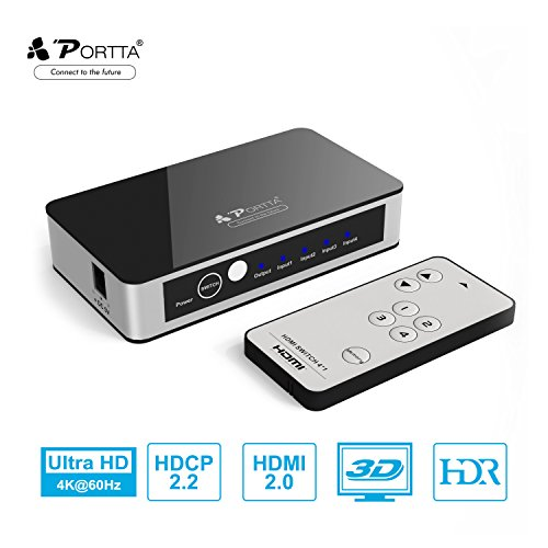 HDMI Switch, Portta Premium 4K HDMI Switcher 4 Port HDMI