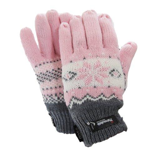 FLOSO - Guantes térmicos Thinsulate con estampado para mujer (Talla Única/Rosa)