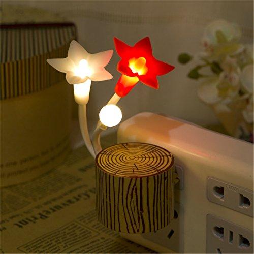XIAOBIDENG 110 V US-Stecker Simulation Holz Blumen LED Sensor Light Control Schlafzimmer Nacht Licht Lampe für Kinderzimmer (Hello Kitty Für Schlafzimmer Lampen)