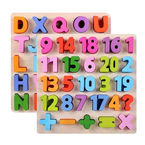 Toyvian 2 stücke Baby Holz Puzzle Spielzeug Holz Puzzle Digitale Zahl Mathematik Spielzeug 26 Buchstaben Englisch Alphabet Anerkennung Lernspielzeug