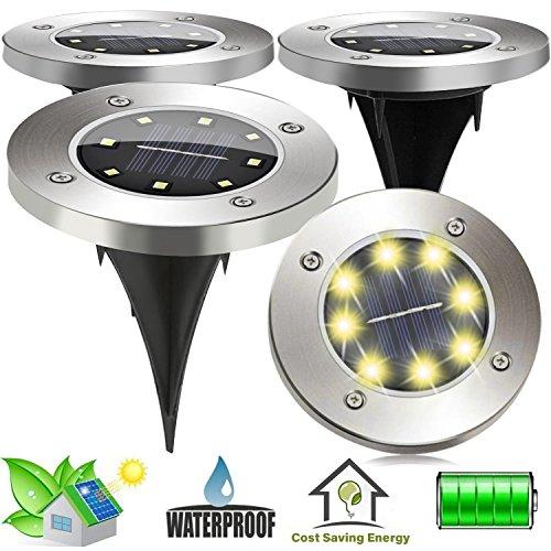 SunTop 4 piezas Luces Solar Energía Solar Powered luz al aire libre de la lámpara 8 LED Camino Jardín Paisaje Spike iluminación para Yard Driveway Camino del césped