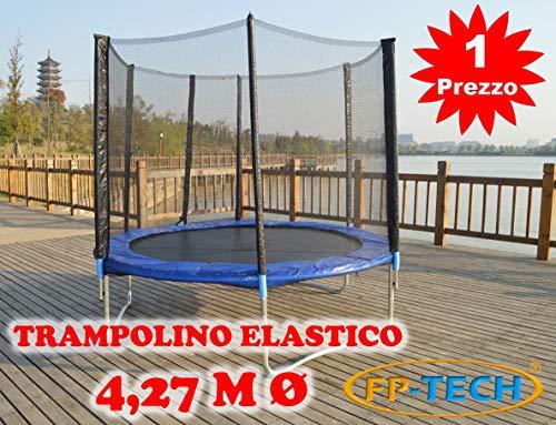 FP-TECH Trampolino Elastico da Giardino Tappeto Elastico Esterno Sport Rete (427cm - 14FT)