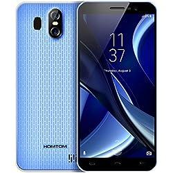 HOMTOM S16 -Smartphone 5.5 Pulgadas 18: 9 HD IPS Pantalla Táctil MTK6580 Quad-Core Android 7.0 2GB RAM 16GB ROM 13MP Cámaras Principales Batería Grande 3000mAh Dual SIM Fingerprint OTA Móvil -Azul