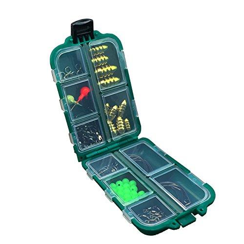 gossipboy 83PCs/1SET klein Multifunktions Fishing Tackle Box Zubehör Karpfen Wels Süßwasser Angeln Tackle Case Utility Box-Haken, Wirbel, doppelte Schlaufen, Bullet Sinker, Jig Head, helle Köpfe