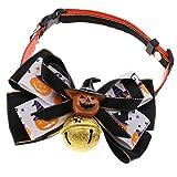 perfk Hundehalsband für mittlere Hunde, Hunde Halsband mit Glöckchen und Fliege für Halloween Party - Kürbis