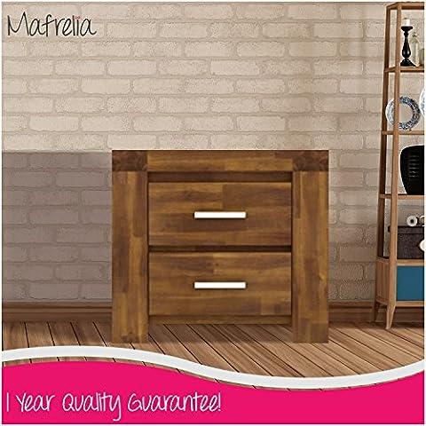 mafrelia di acacia massiccio tavolo comodino con 2cassetti–perfetto per un elegante e tradizionale Camera da letto