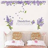 Pegatinas de Pared Flores de Lavanda Púrpura con Citas Inspiradoras Decorativo Extraíble DIY Vinilo Pared Calcomanías Hacer Mural Temático de Jardín en la Sala de Estar, Dormitorio, Pared Familiar