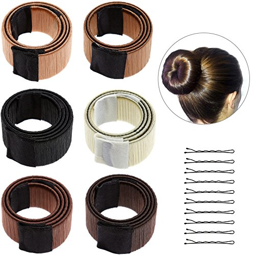 Lictin 8 pezzi Donne Capelli, Chignon French Twist Hair Fold Wrap Snap- Bun Maker per Donne Hair Styling Disc Chignon Make (Beige Colore,Bionda,Marrone Chiaro,Marrone Scuro,Caffè Scuro,Nero)