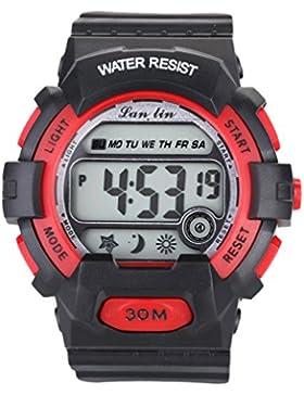 YAZILIND Unisex Sportuhr Multifunktions Led Licht Digital Wasserdichte Armbanduhr (rot)