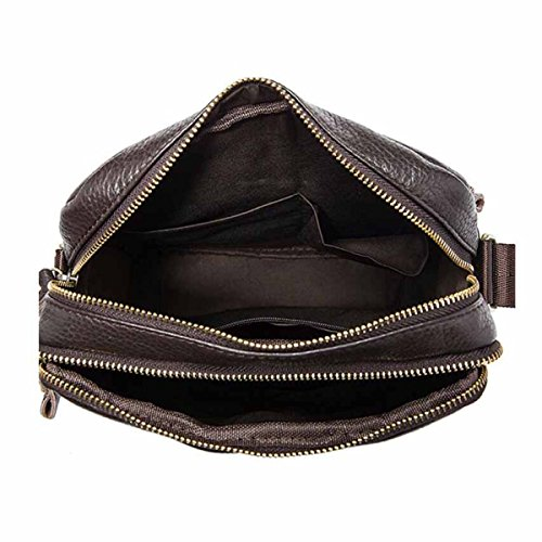 Männliche Leder Schultertasche Messenger Bag Fashion Casual Aktentasche,Brown Black