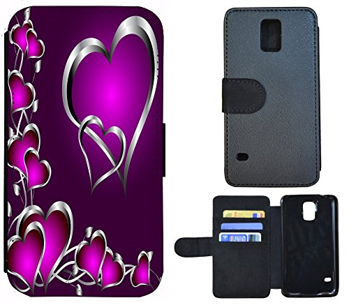 Coque Flip Cover Housse Etui Case Pour, Tissu, 1218 Herz Herzen Lila Silber, Apple iPhone 6 / 6s 1218 Herz Herzen Lila Silber