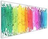Wallario Küchenrückwand aus Glas, in Premium Qualität, Motiv: Regenbogenstreifen auf weißem Hintergrund - Bunter Anstrich | Spritzschutz | abwischbar | pflegeleicht
