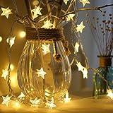 LED Lichterketten, Sternen Lichterketten, LED Lichterkette, 10M 100 LEDs Lichterkette, WarmesGelb Sternenförmiges Fee Schnur beleuchtet dekorative Lichterketten für Weihnachtsfest Hochzeits Garten