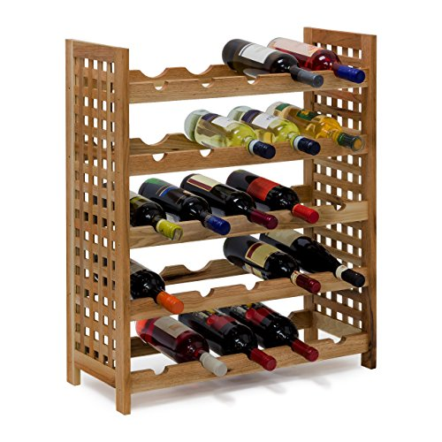 Relaxdays - cantinetta per vino in legno di noce oliato 5 scaffali, spazio per 25 bottiglie, 73 x 63 x 25 cm, marrone