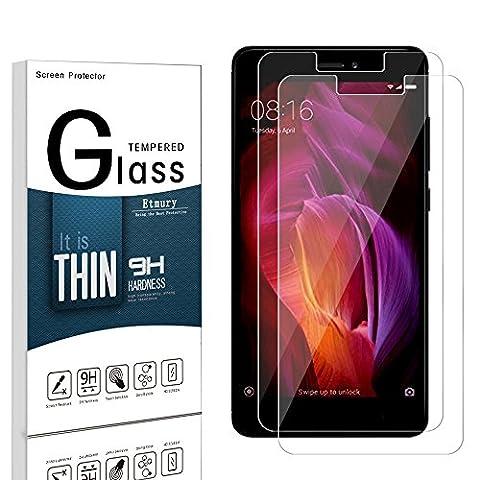 Utmury Xiaomi Redmi Note 4 Protection d'écran, Protection d'écran en verre trempé pour Xiaomi Redmi Note 4 [9H Dureté] Film protecteur pour écran (Pack de 2)