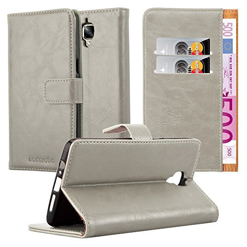 Cadorabo Hülle für OnePlus 3 / 3T - Hülle in Cappuccino BRAUN - Handyhülle im Luxury Design mit Kartenfach und Standfunktion - Case Cover Schutzhülle Etui Tasche Book