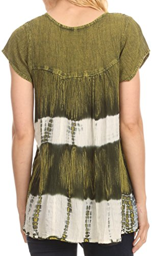 Sakkas Layleka Lange Abbindebatik Ombre Batik gestickte Pailletten Perlen-Hemd-Bluse Top Grün