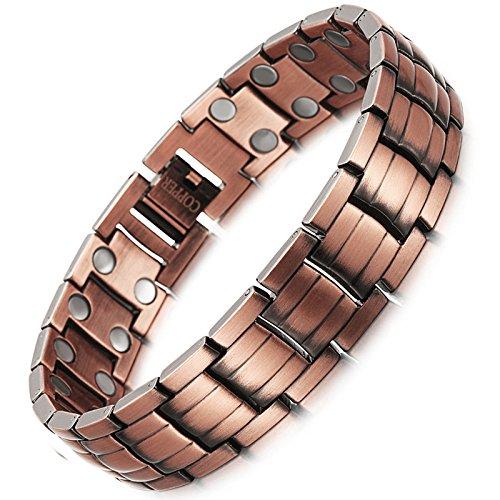 ZXMSZ Männer Rotes Kupfer Doppelte Reihe Magnet Armband Gesundheit Armband,Copper-21.5cm